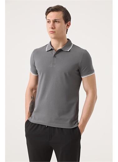 TWN Twn Slim Fit Vizon Pike Dokulu T-Shirt Antrasit